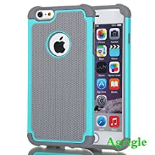 buy Agrigle Shock- Absorption, High Impact Resistant Hybrid Dual Layer Armor Defender Full Body Protective Cover Case For Iphone 6 5.5 Inch - Gray/Blue