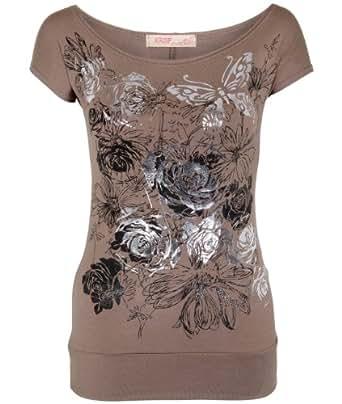 Shop Womens Butterfly Floral Foil Print Boat Neck Batwing Top T Shirt Blouse New (Mocha,8)