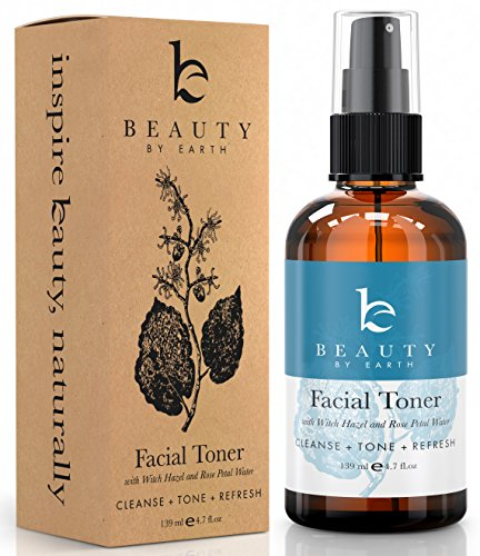 Beauty By Earth Best Hydrating Facial Toner 100% Natural Ingredients Include Organic Witch Hazel, Rose Water, Aloe Vera And Cucumber - Reduce Puffiness, Inflammation, Redness And Pore Size & Alcohol Free Makeup Remover