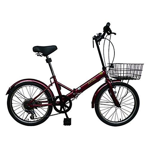 20インチ折りたたみ自転車AJ-20K(RED BROWN) 便利なカゴ付き AJ-20K 【カゴ付き】
