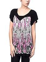 MISS CAT Camiseta Manga Corta (Negro / Rosa)