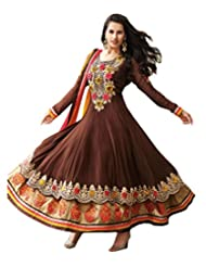 Marvellous Brown Georgette Anarkali Suit with Zari and Patch border Work