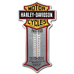 Harley-Davidson® Patent Bar & Shield Tin Thermometer. HDL-10095