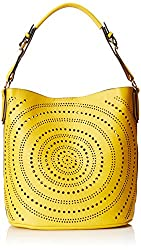MG Collection Calista Perforated Shoulder Bag, Yellow, One Size