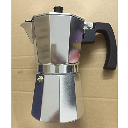 Alpha Coffee 6-Cup Stovetop Espresso Maker Moka Pot With Extra Large Handle To Prevent Burns ...