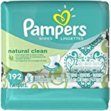 Pampers Natural Clean Wipes 3x Travel Pack 192 Count