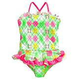 Angel Beach Little Girls One-Piece Green and Pink Foil Print Swimsuit