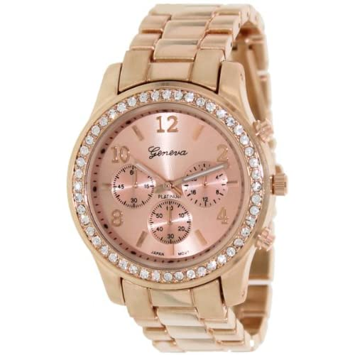 Geneva Platinum Women's 9073.RoseGold.RoseGold Rose-Gold Stainless-Steel Quartz Watch with Rose-Gold Dial