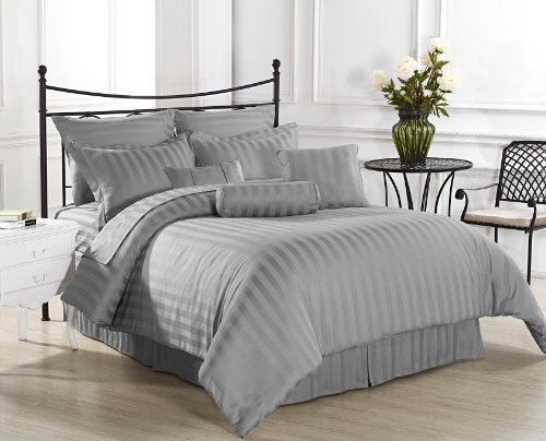 Gray Striped Bedding 6223 front