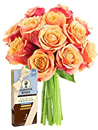 Long Stemmed Orange Roses (Dozen) and Scharffen Berger Chocolate - Without Vase