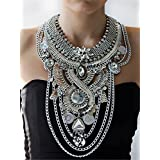 Lanue Womens Ethnic Tribal Boho Beads Coin Tassels Chain Necklaces Long Belly Dance Bohemian Jewelry (Silver)