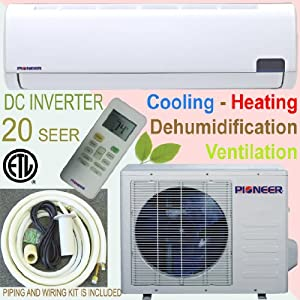 Pioneer Ductless Mini Split INVERTER Air Conditioner, Heat Pump, 12000 BTU (1 Ton), 20 SEER, 208-230V, Cooling, Heating, Dehumidification, Ventilation. Including 16 Foot Installation Kit and Accessories. by Parker Davis HVAC Systems, Inc.