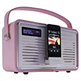 View Quest Retro Style DAB+/FM Radio with iPod/iPhone Dock, LCD Backlit Screen and AUX-In - Pink
