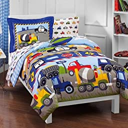 Dream Factory Trucks Bed-in-a-bag Reversible Comforter Set with Sheets