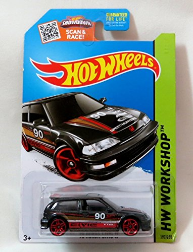 Hot Wheels, 2015 HW Workshop, '90 Honda Civic EF [Black] Die-Cast Vehicle #197/250