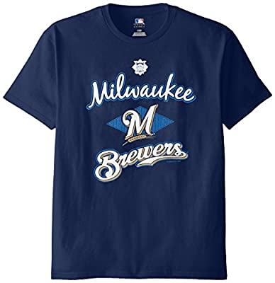 MLB Milwaukee Brewers Men's 58T Tee, Navy, Medium