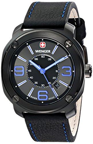 wenger 011051105 - Reloj de pulsera hombre, piel, color negro
