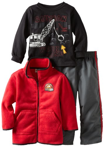 Kids Headquarters Boys 2-7 Winter Open Front Jacket With Tee And Pant Set, Red, 2T