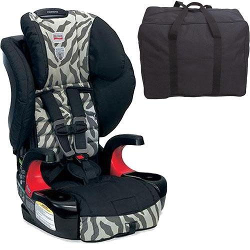 Britax Frontier 90 Combination Harness-2-Booster Seat - Zebra With A Car Seat Travel Bag front-761603
