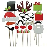 {Factory Direct Sale} (Pack of 17) Funny DIY Photo Booth Props Mustache Glasses Snowflake Gift On A Stick Wedding Birthday Christmas Xmas Party Family