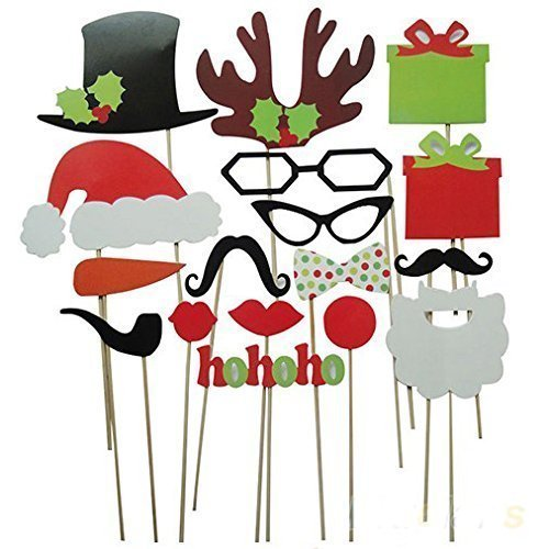 Soledi-Pack-of-17-Funny-DIY-Photo-Booth-Props-Mustache-Glasses-Snowflake-Gift-On-A-Stick-Wedding-Birthday-Christmas-Xmas-Party-Family
