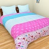 BRiDA Polycotton Double Bedsheet - 225 Cm X 225 Cm, Pink And Blue