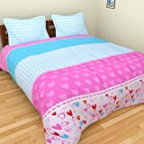 BRiDA Polycotton Double Bedsheet - 225 cm X 225 cm, Pink and Blue