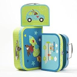 Two\'s Company Happi Set of 3 Storage Boxes - Suitcase Blue