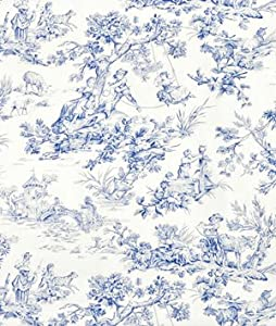 covington m musee toile blue fabric by the yard. Black Bedroom Furniture Sets. Home Design Ideas