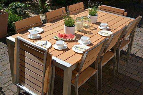 Gartenmbel-Miami-Tisch-200x100-6-Stapelsthle-und-2-Hochlehner-8-Personen-Holzdekor-hell-Polywood-und-Aluminium-Edelstahl-beschichtet
