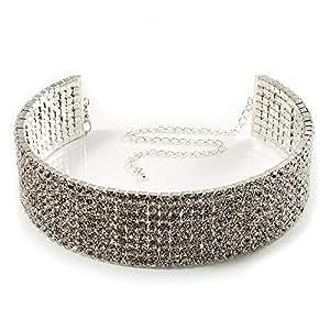 8-Row Swarovski Crystal Choker Necklace (Silver&Clear)