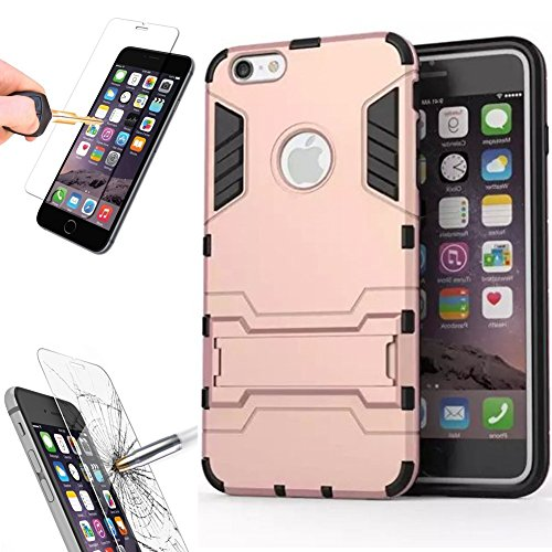 """iPhone 6Plus 6SPlus Protective Case [Not for 4.7"""" iPhone 6 6S] with Tempered Glass Screen Protector, Kick Stand Bumper Cover and Glass for Apple iPhone6Plus 6SPlus [5.5 inch] by BOONIX [Rose Gold]"""