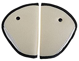 Pinksee Car Child Safety Cover Harness Pad for Seatbelt, Comfortable Protection for Adult Children, Pack of 2 (Beige)