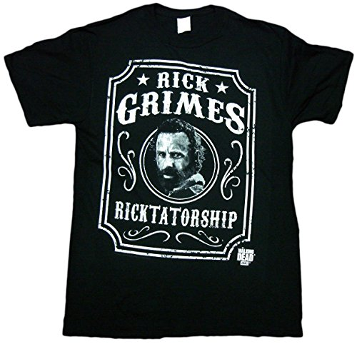 The Walking Dead Rick Grimes Label Adult T-Shirt (Medium, Black)