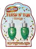 Christmas Novelty Light up Bulb Earrings - Green Lights