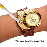 New Military USB Lighter Watch Men's Casual Wristwatches with Windproof Flameless Cigarette Cigar Lighter (Gold)