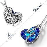 "LadyColour ""Venus"" Swarovski Crystals Sapphire Pendant Necklace,Engraved Heart Necklace For Women"