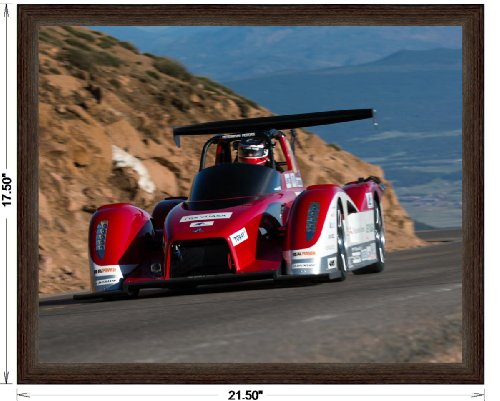 """Mitsubishi Miev Evolution Ii All Electric Pikes Peak (2013) Framed Race Car Art Poster Print Red/White Front Side Motion View In Dark Walnut Frame, No Mat 16""""X20"""""""
