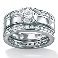 DiamonUltraandtrade; Cubic Zirconia Platinum Over Sterling Silver Wedding Set