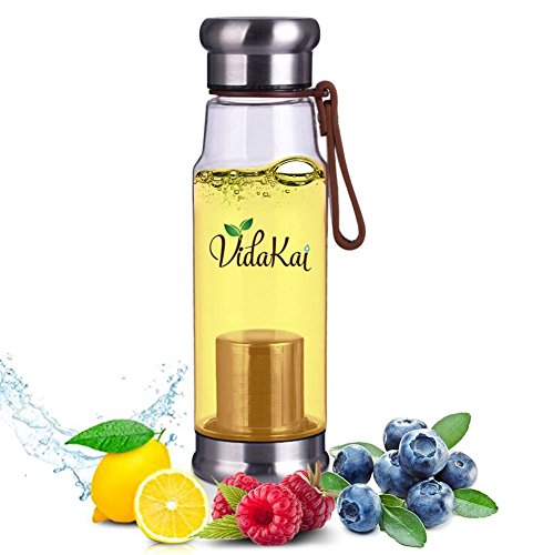 VidaKai Infuser Water Bottle for Loose Leaf Tea and Cold Brew Coffee and Fruit Water - BPA-Free and Shatterproof Tumbler and Portable Teapot - 550 mL (Diffuser Teapot compare prices)