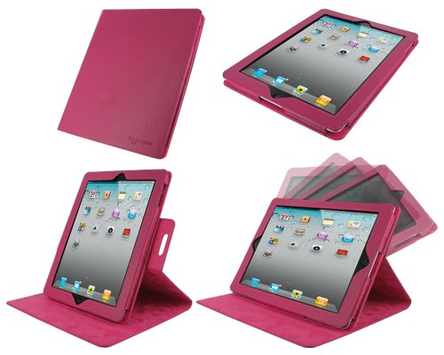 rooCASE Dual-View Multi Angle (Magenta) Genuine Leather Folio Case Cover for Apple iPad 3 / The new iPad / iPad 2 (Automatically Wakes and Puts the iPad to Sleep)