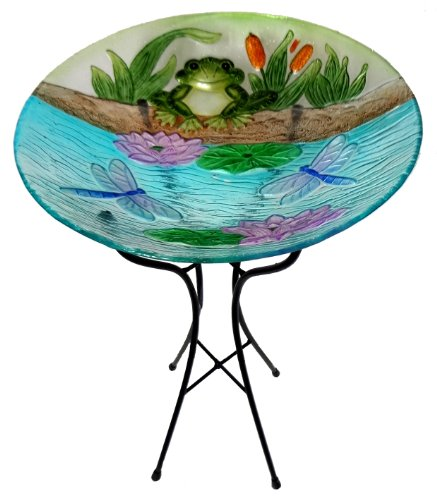 Leigh Country TX 76105 Bird Bath with Frogs and Dragonflies, Stand Included