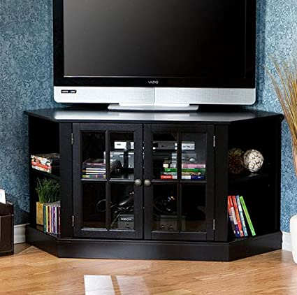 Upton Home Crescent Black Corner Media Console TV Stand