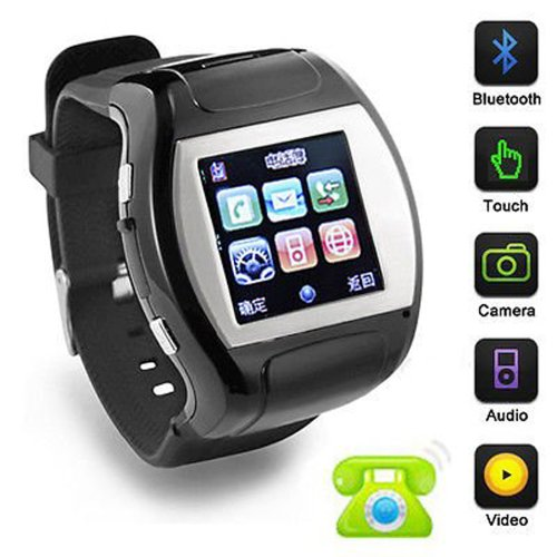 "1.5"" Touch Screen Gsm Cell Mobile Watch Phone W/ Mp3/Mp4 Fm Bluetooth Tf Camera (Black)"