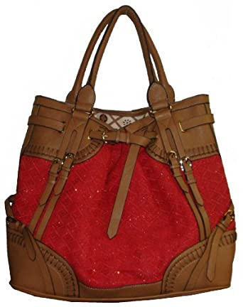 Nicole Lee Women's U.S.A. Large Totel Handbag, Deep Sparkle Pink/Tan