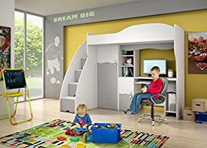 Brand New Kids Children Bedroom Cabin Bunk Bed DREAM with stairs and computer desk in White/Grey sold by Arthauss