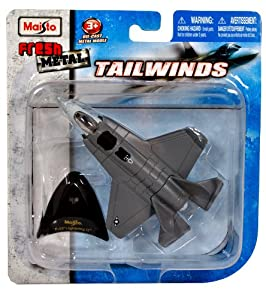 """Maisto Fresh Metal Tailwinds 1:129 Scale Die Cast United States Military Aircraft - U.S. Stealth-Capable Military Strike Fighter Jet : F-35 Lightning II with Display Stand (Dimension: 4-1/2"""" x 3-1/4"""" x 1"""")"""