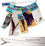 The Da Bird Ultimate Fun Pack (Original 3 Foot Pole Da Bird Interactive Toy, 1 Original Refill, 1 Kitty Puff, 1 Sparkly, 1 Fun Fur, 1 Cat Catcher Refill & 1 Laser Pointer)!