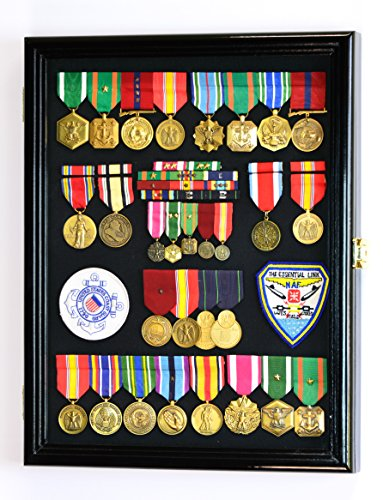 Military Medals, Pins, Patches, Insignia, Ribbons, Flag Display Case Cabinet, Black (Black Pin Display Case compare prices)