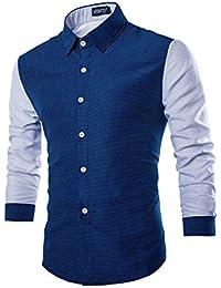 Rrimin Mens Cotton Blend Long Sleeve Shirt Casual Slim Fit Stylish Dress Shirts Tops